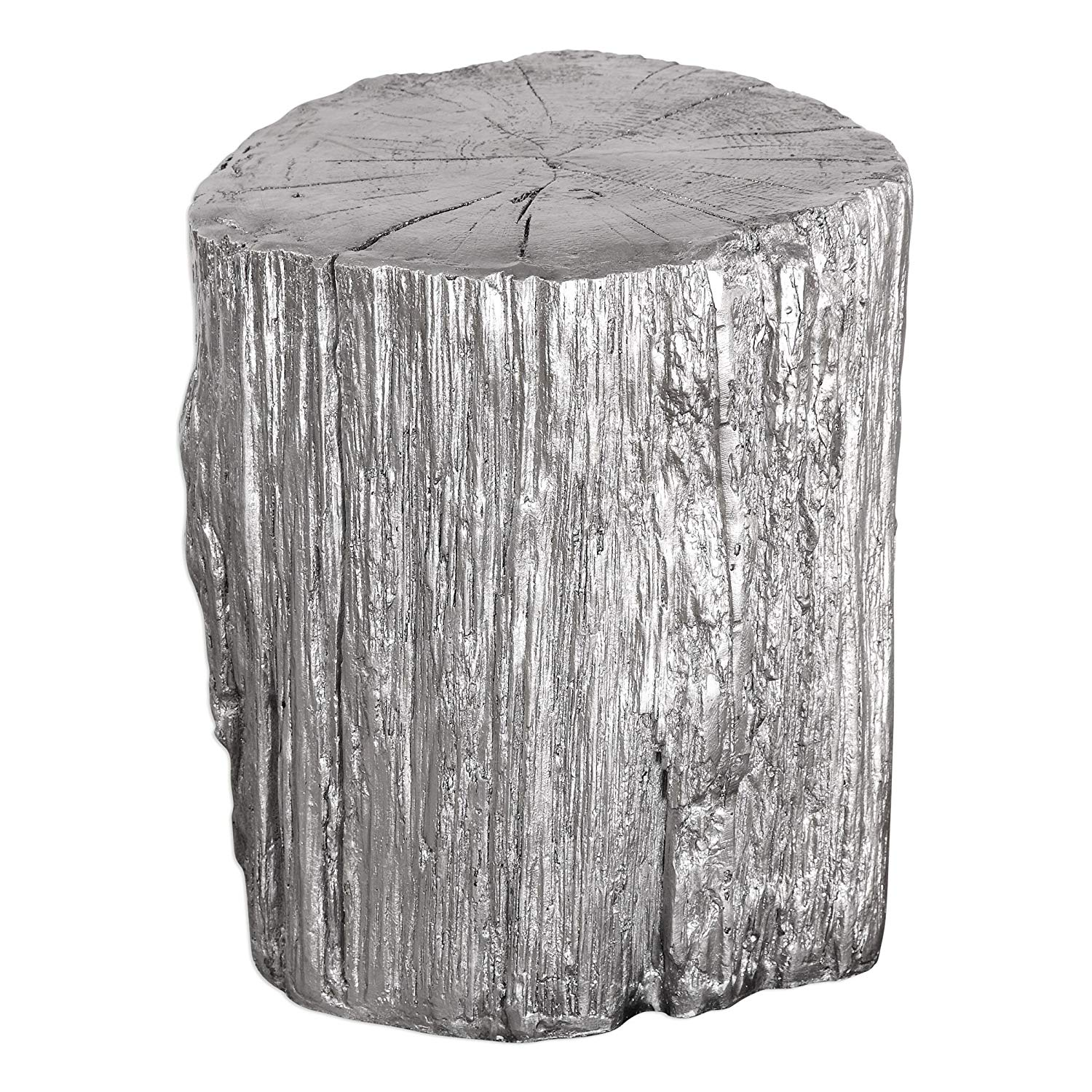 elegant silver tree stump accent table pedestal round tall faux bois trunk naturalist kitchen dining with drink cooler cube side wicker furniture set clearance very narrow coffee