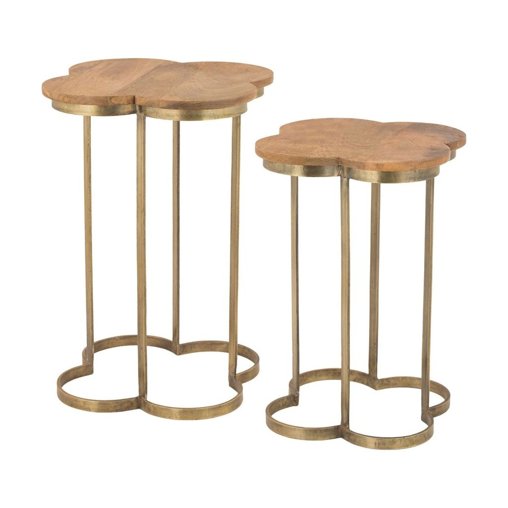 elk group gold leaf quatrafoil accent table mango wood side tables leafmango white counter height set small round metal coffee legs skinny outside benches party bucket pretty