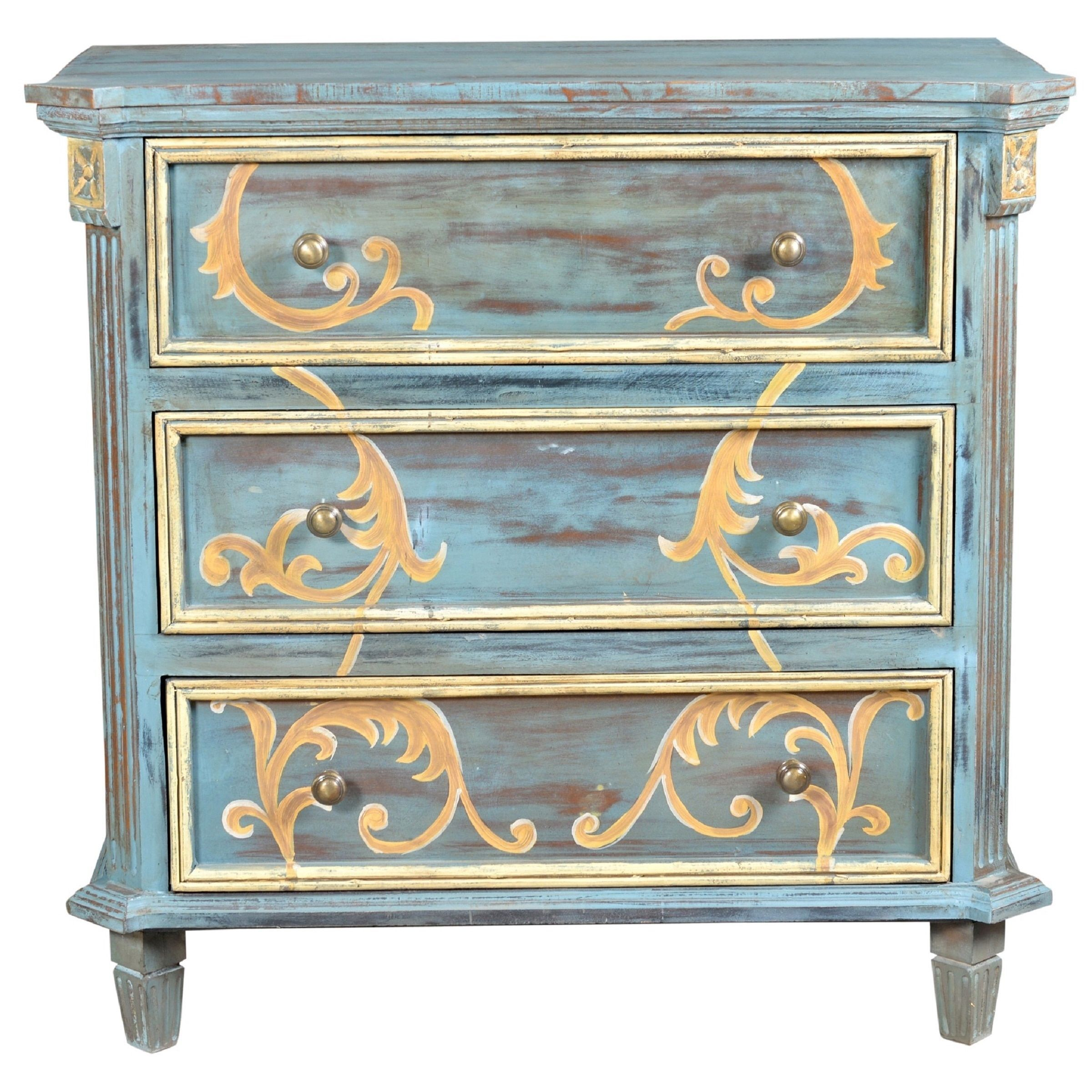 elk lighting chanda blue three drawer accent chest painted tables chests wood living room furniture piece dining set pedestal legs gold color coffee table entrance hall patio