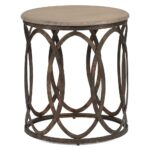 ella rustic interlock iron oval vintage wood top side table product accent kathy kuo home brown living room furniture nautical sofa pine nightstands bedroom ethan allen coffee 150x150