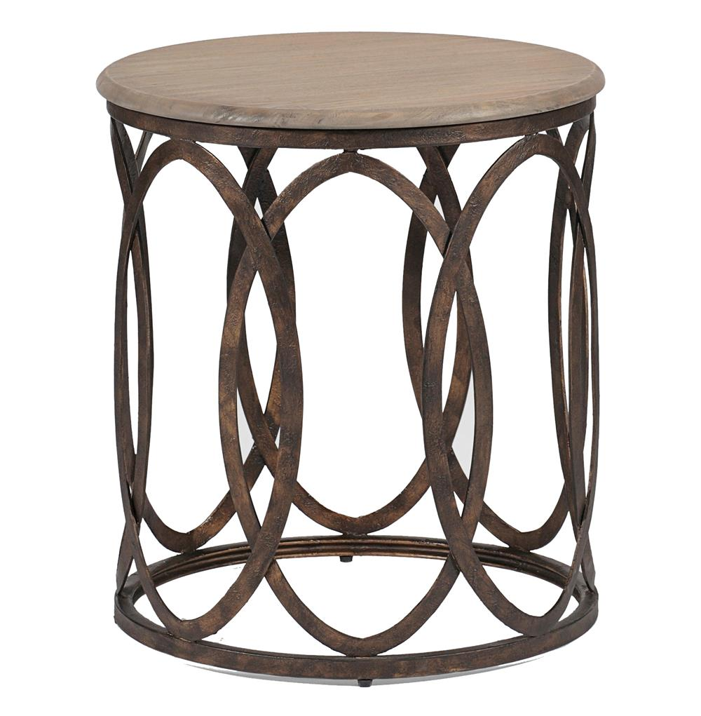 ella rustic interlock iron oval vintage wood top side table product accent kathy kuo home brown living room furniture nautical sofa pine nightstands bedroom ethan allen coffee
