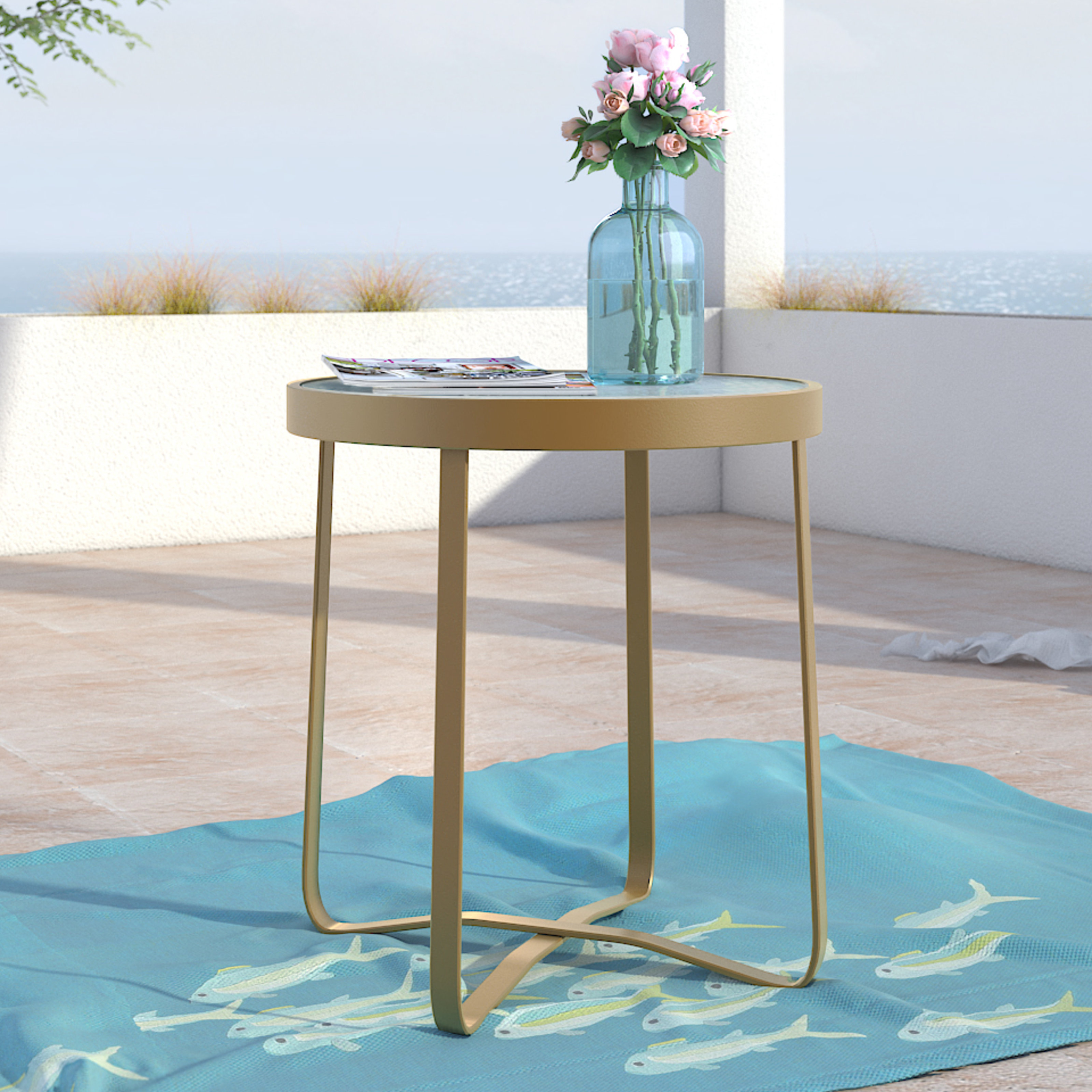 elle decor mirabelle outdoor side table blue accent round bronze coffee chair and ott metal clock narrow sofa end iron target tables wood rectangle with drawer tray luau cupcakes