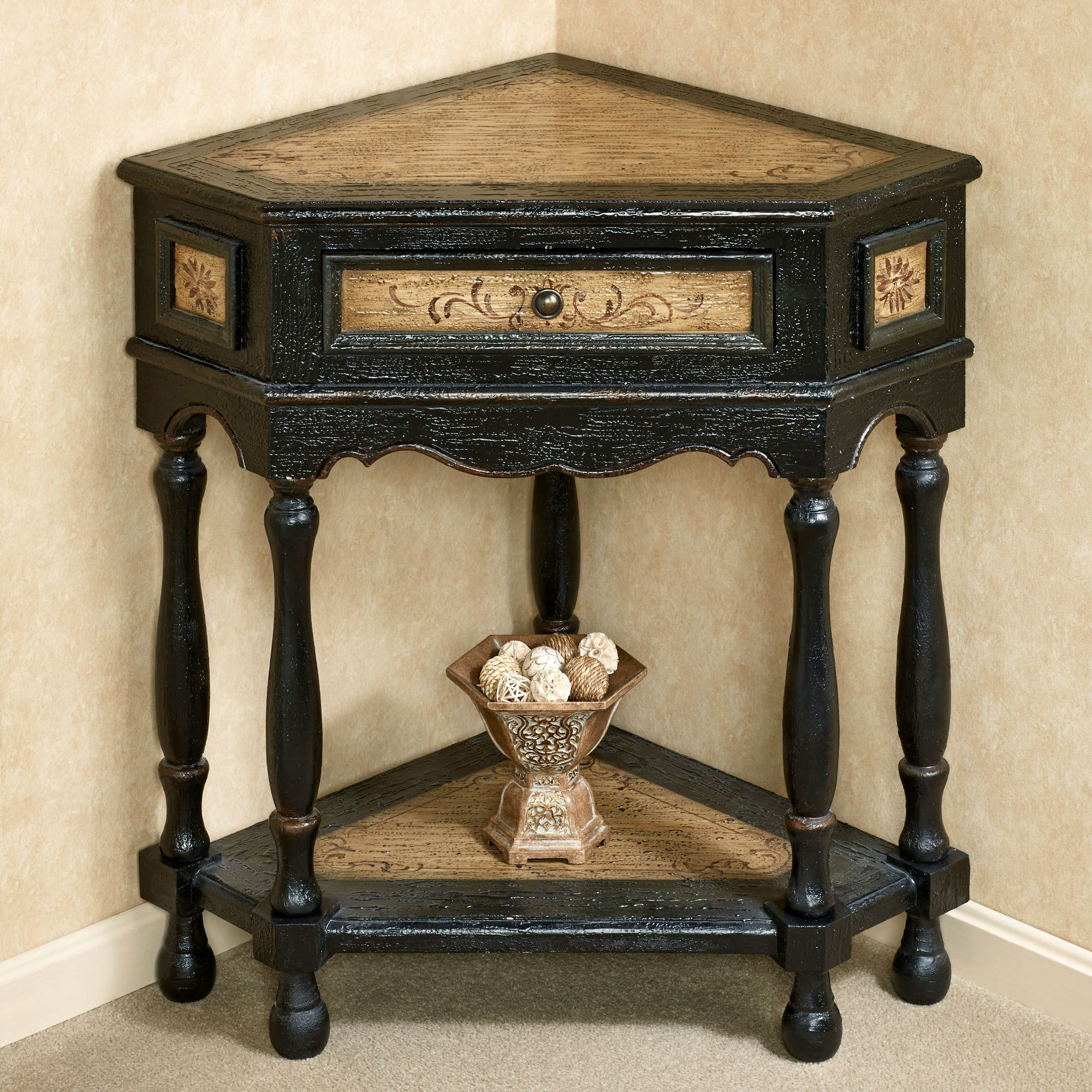 elmhurst black corner accent table with drawer linens touch zoom woodard furniture temple jar lamps card cloth uma wooden console half circle hall unique side ideas marble top