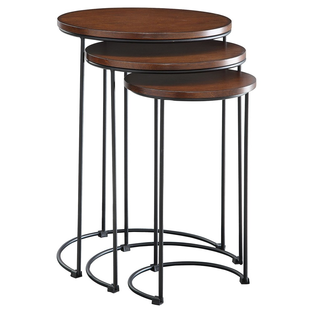 eloise nesting table set chestnut black brown carolina knurl accent tables chair and unfinished wood dining plastic garden storage boxes occasional chairs silver chest cream round