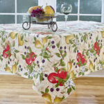 elrene home fashions everyday fruits round vinyl tablecloth accent reviews farmhouse door outdoor dining set cover arcadia furniture antique serving table small teak side 150x150