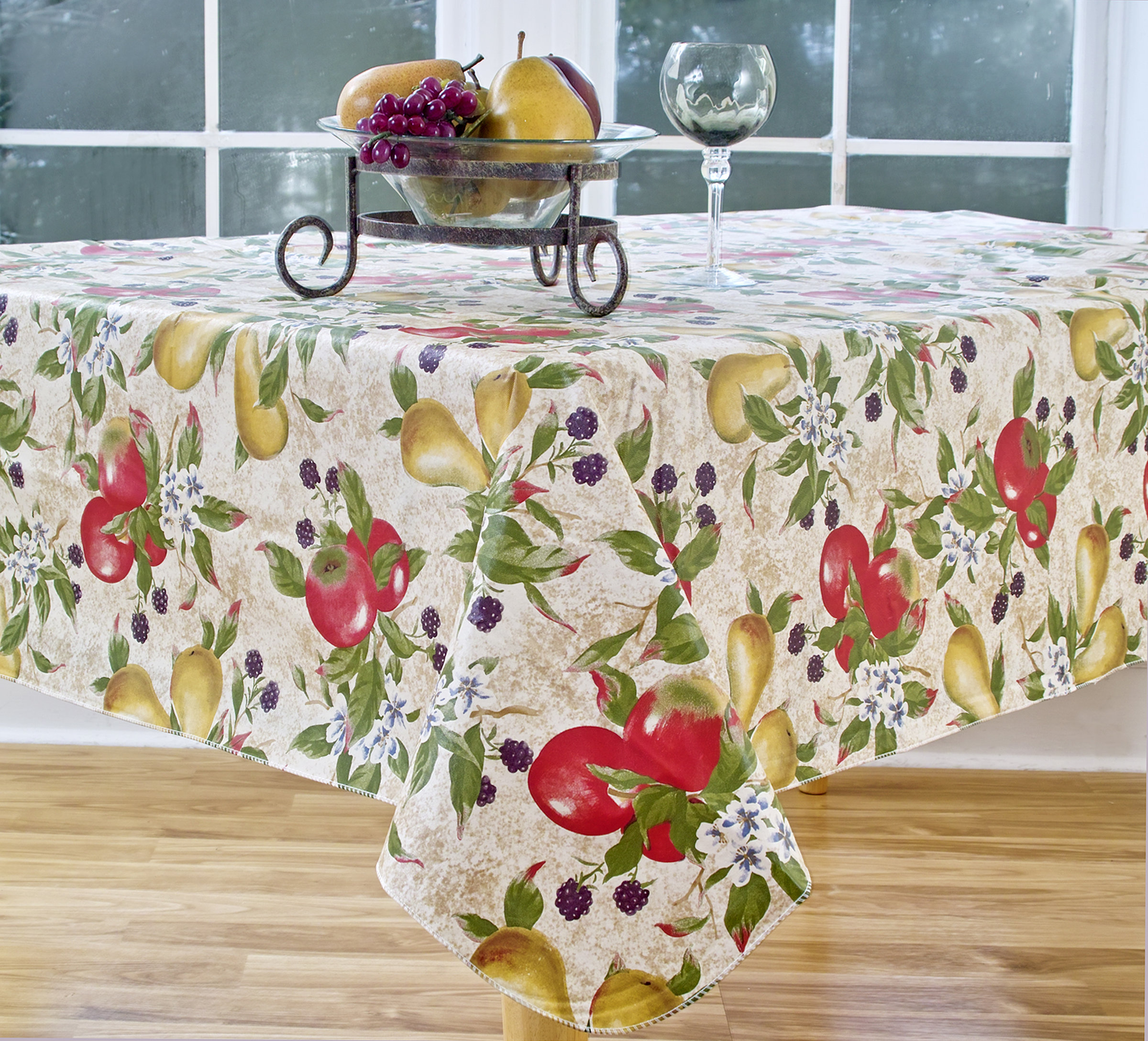 elrene home fashions everyday fruits round vinyl tablecloth accent reviews farmhouse door outdoor dining set cover arcadia furniture antique serving table small teak side