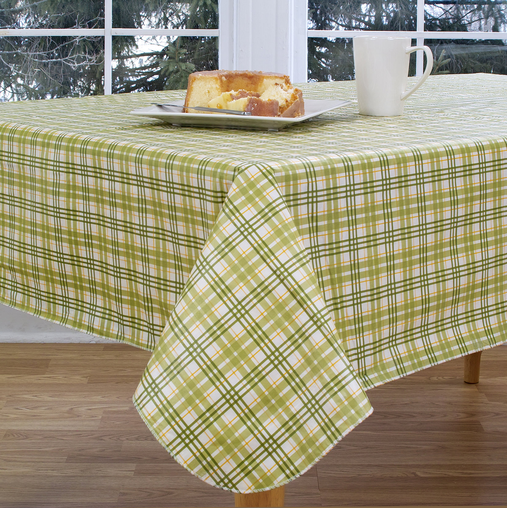elrene home fashions homestead plaid round vinyl tablecloth accent reviews pier one imports table and chairs outdoor dining set cover coffee cloth clearance lawn furniture white