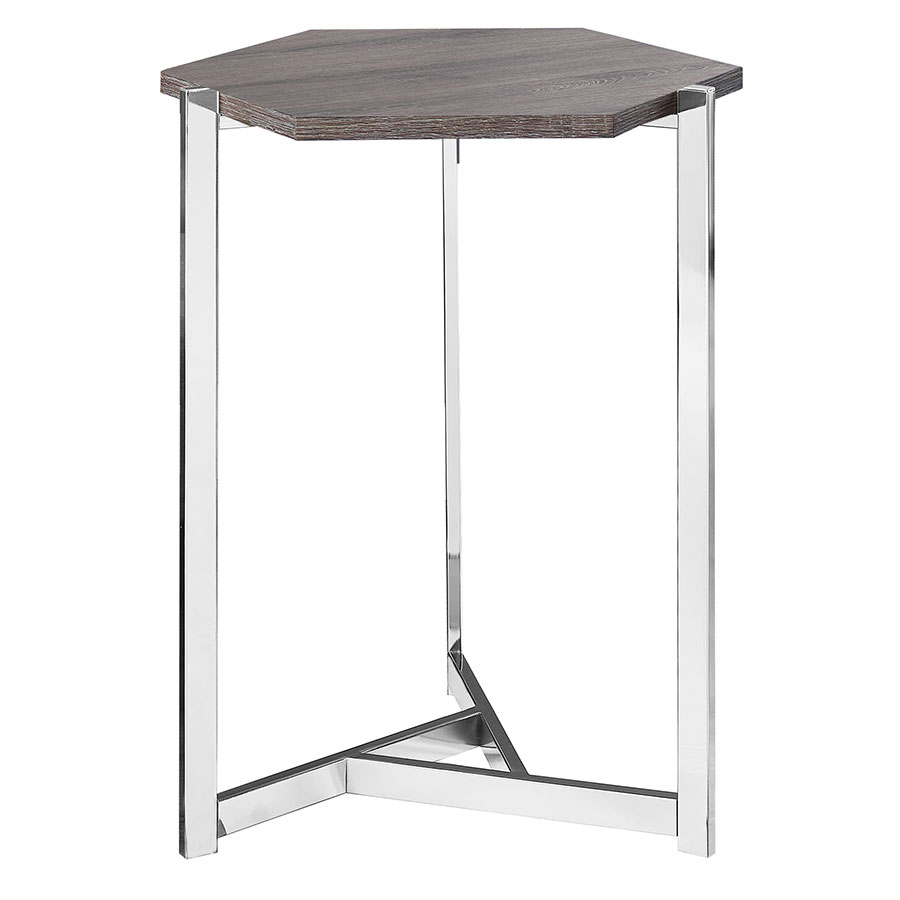 elvas modern gray washed hexagon accent table eurway dark taupe wood coffee with metal frame home design brown entry owings target pottery barn small kitchen bedside decorative