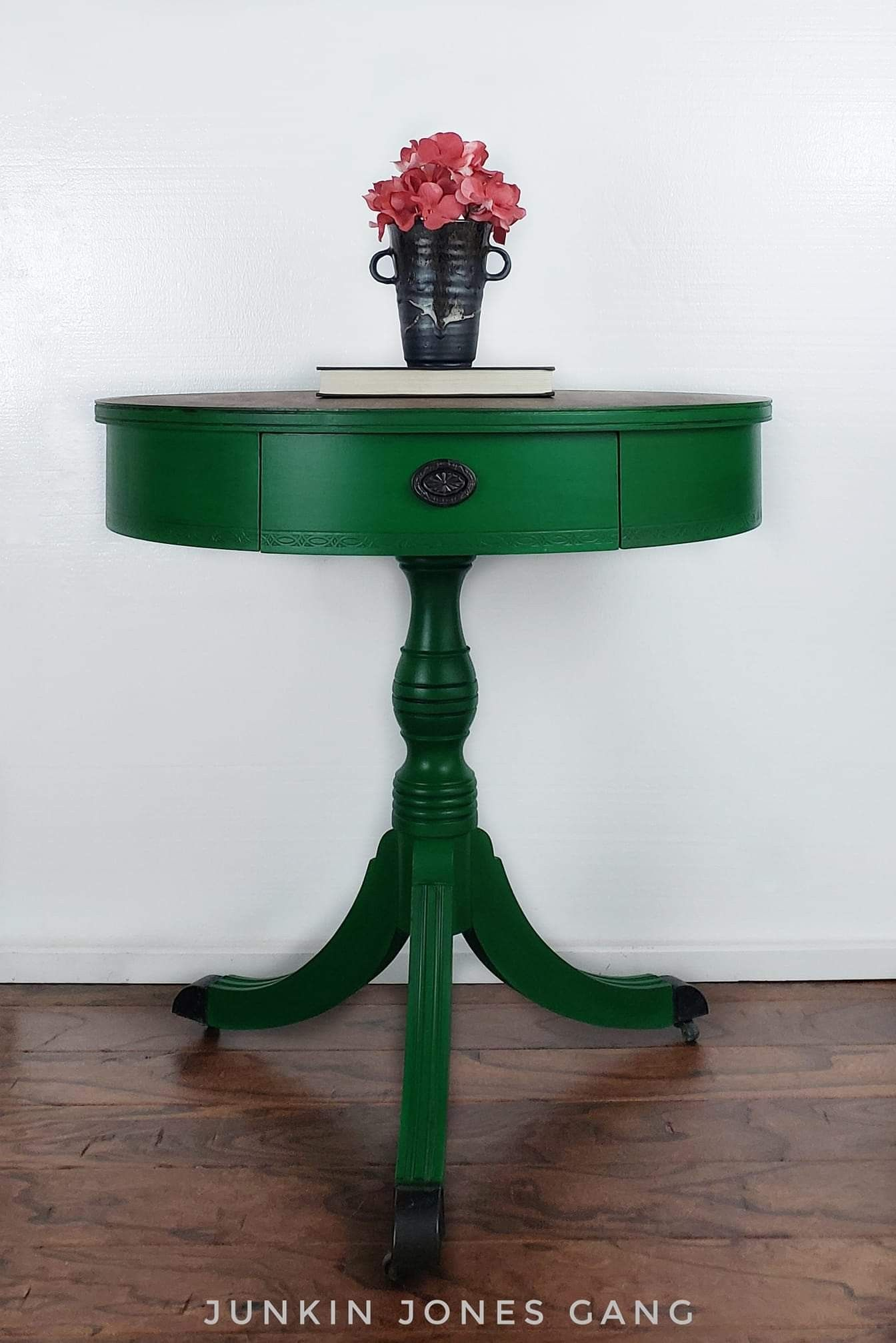 emerald drum table this beautiful vintage finished green accent and accented with legion furniture tray unique home tablecloth for inch decorative nightstand wide headboard lights