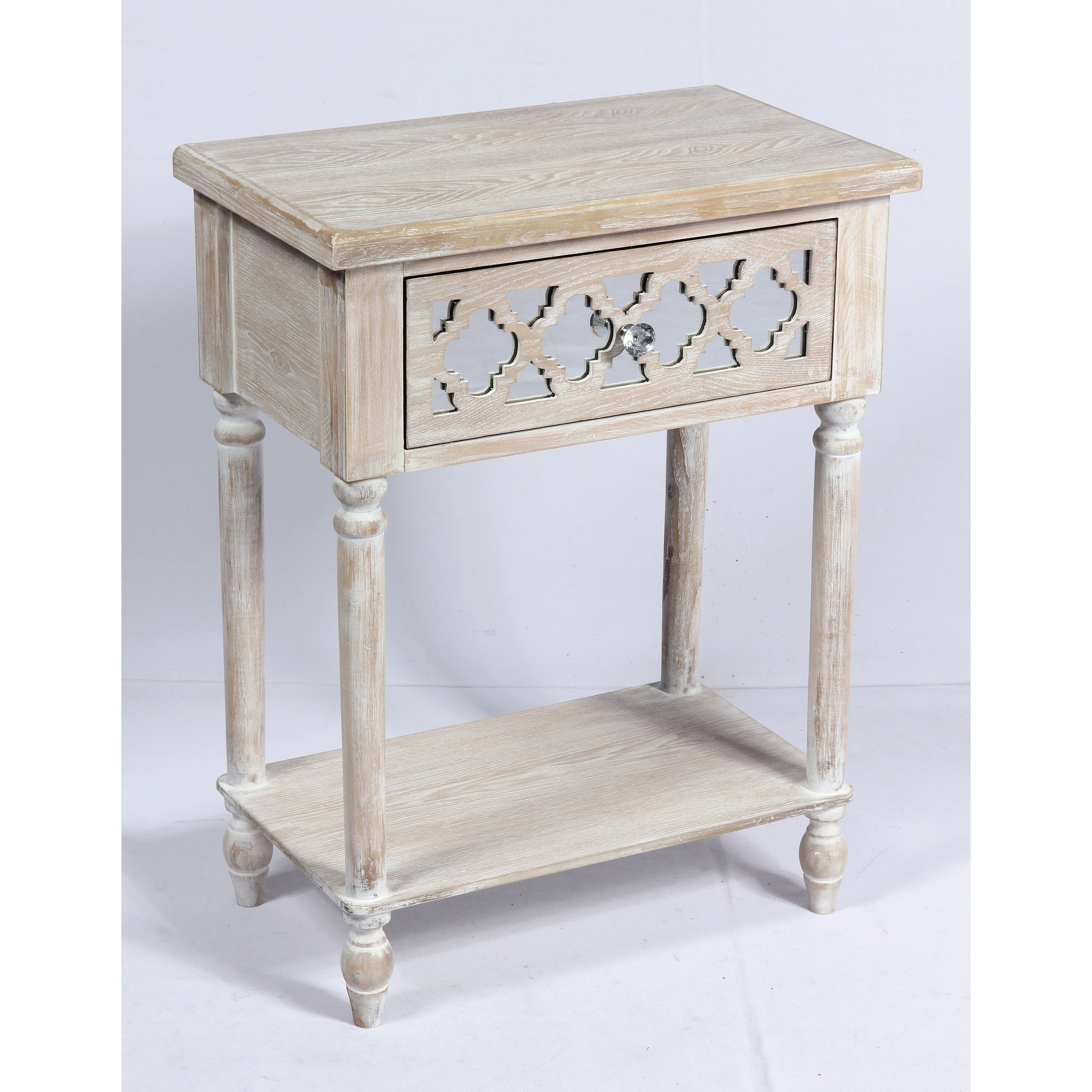 emerald home canterwood whitewash and mirror accent table with french country turned leg threshold lattice detailing hardworking storage organization free shipping vintage