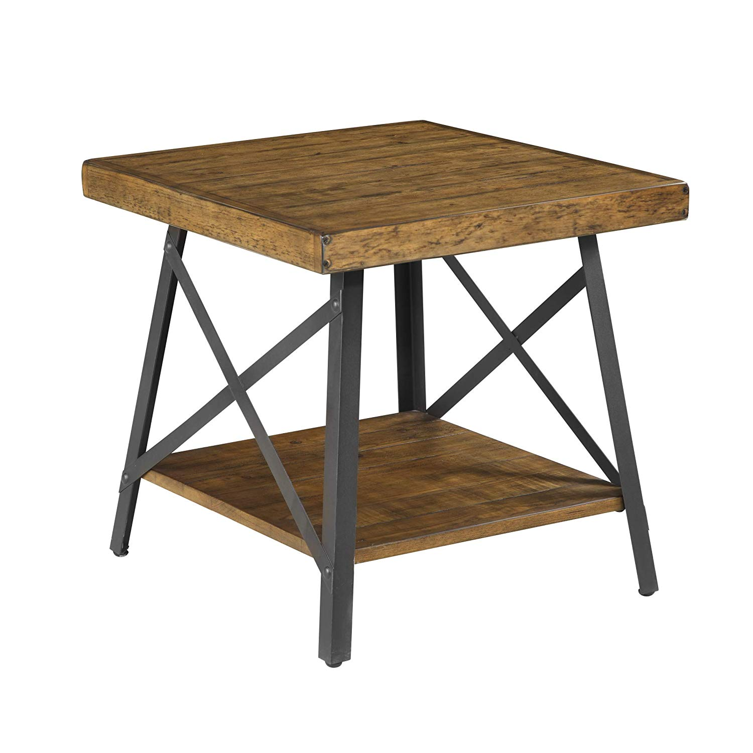 emerald home chandler rustic wood end table with solid metal accent drawers top base and open storage shelf kitchen dining flannel backed tablecloth pier candles pottery barn