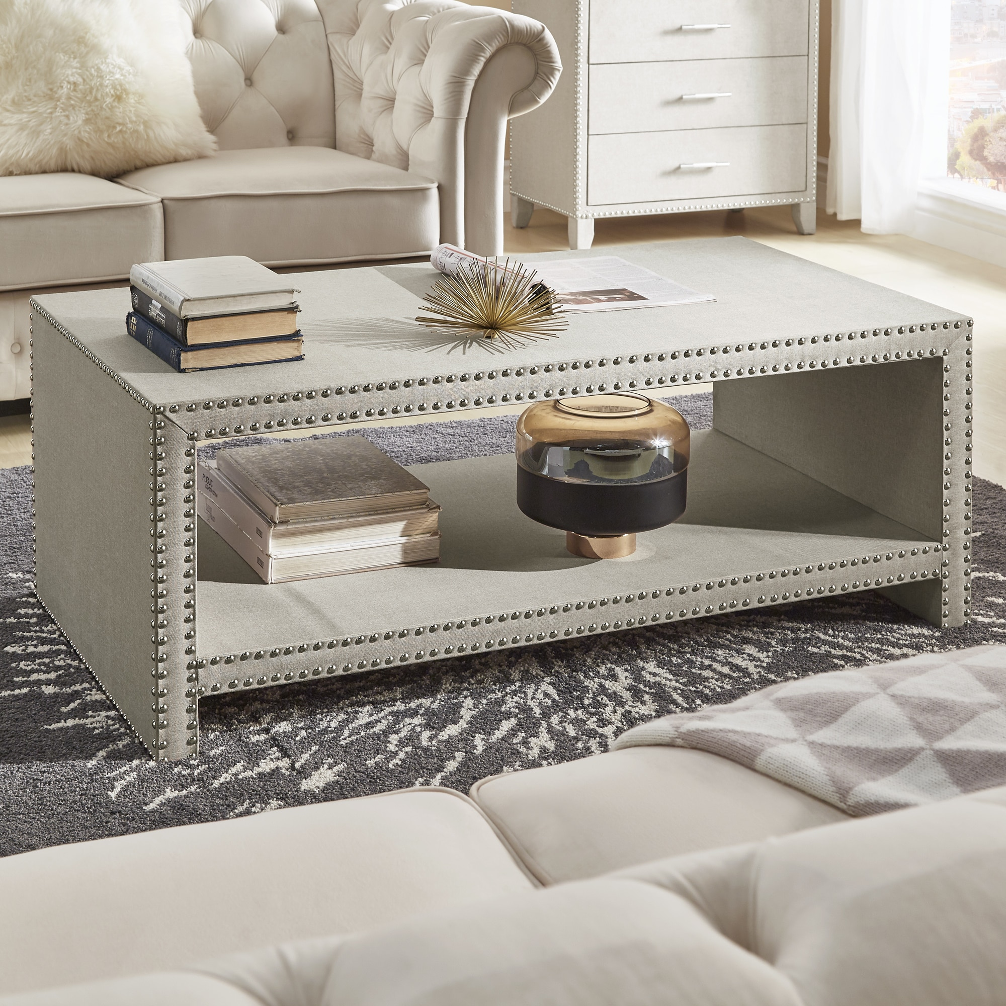 emery beige linen nailhead trim accent tables inspire bold room essentials mixed material table free shipping today black patio end restaurant lamps battery operated contemporary