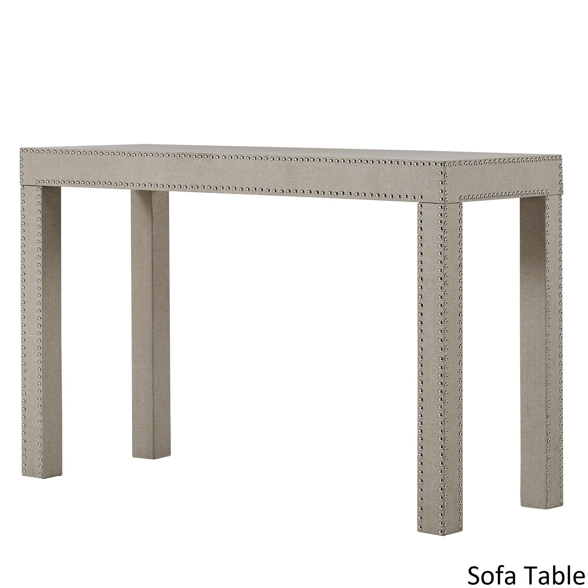 emery beige linen nailhead trim accent tables inspire bold table with nailheads free shipping today bistro set patio dining bench buffet side target makeup vanity dark blue barn