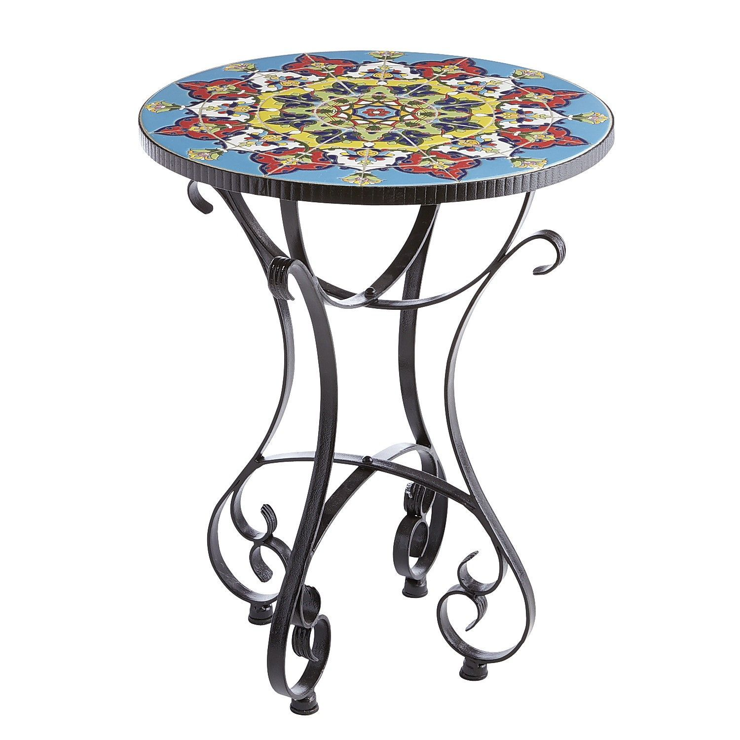 emilio mosaic accent table hand painted tile outdoor west elm morten lamp contemporary end lamps metal door threshold outside grills pub dining set two cabinet glass and chairs