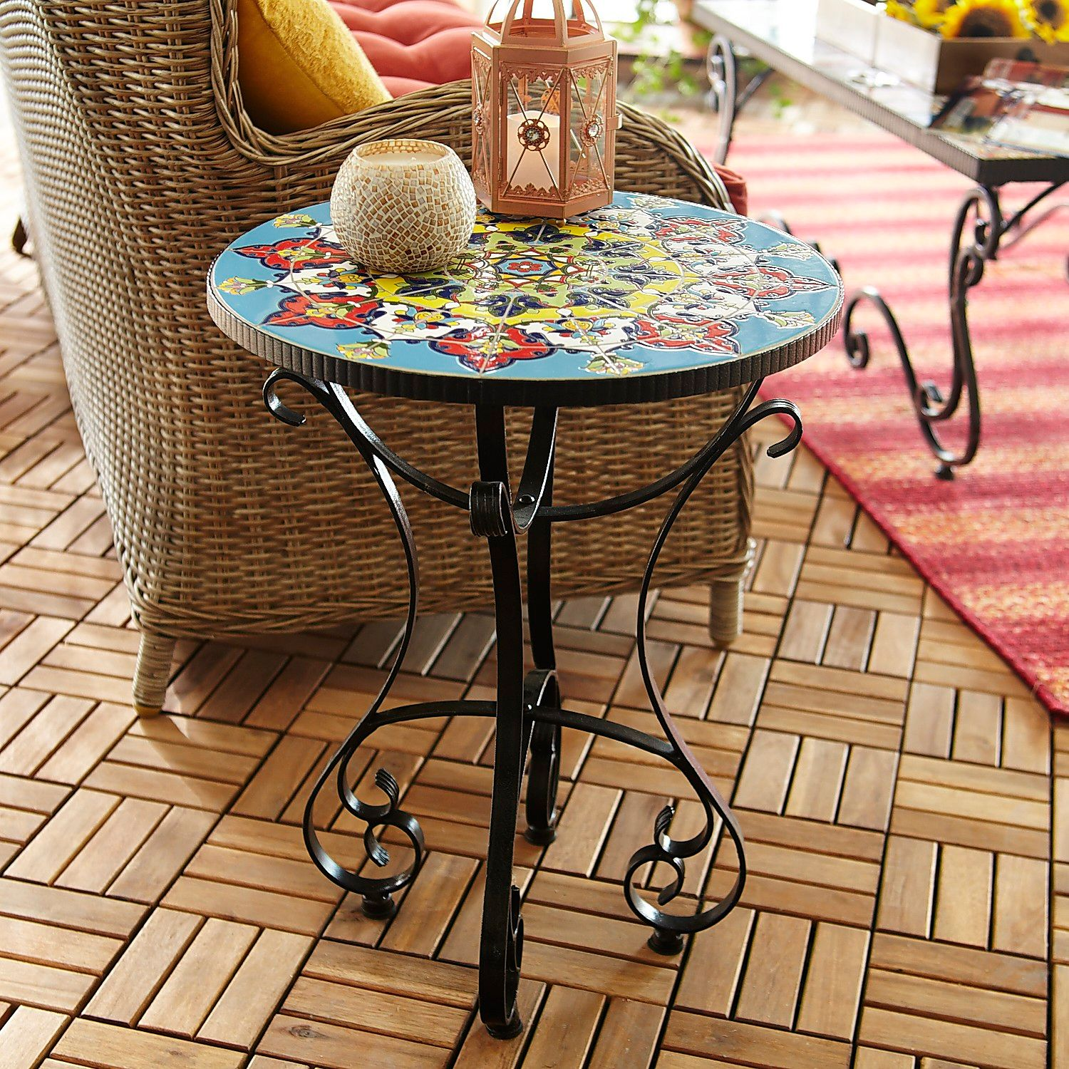 emilio mosaic accent table pier imports indoor concrete outdoor and chairs wall hanging wine rack square lucite side with basket drawers grey coffee glass end tables ikea gold