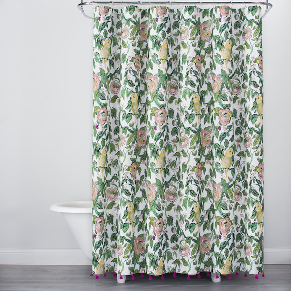 emily henderson top from target opalhouse launch brit parrot shower curtain tachuri geometric front accent table brown alfama print with tassels green yellow this fantastic