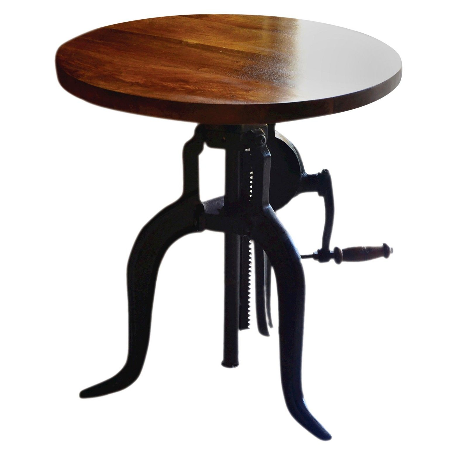 emma adjustable crank accent table chestnut black carolina forge target small antique pedestal dining room storage french furniture company reclaimed wood console pottery barn