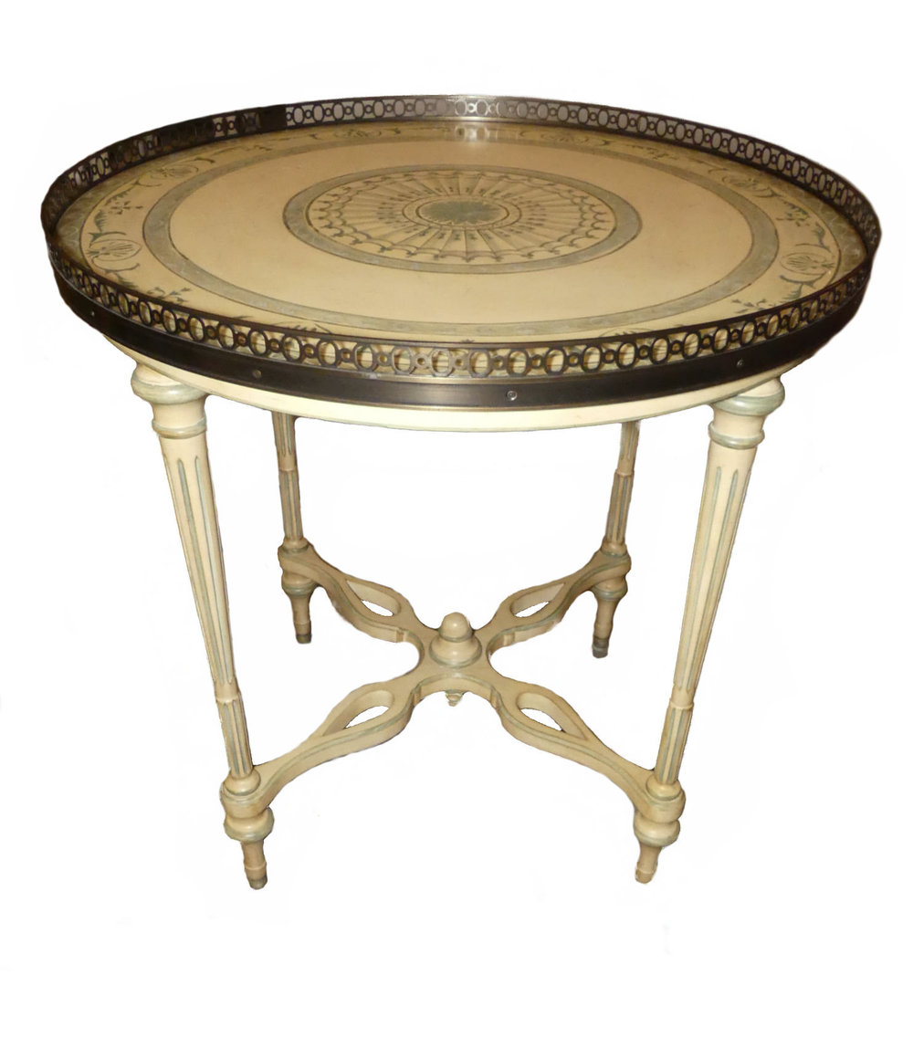 encore furniture gallery hand painted accent table with pierced round lamp end metal brass italian neoclassical barn door window shutters small oak kartell side large oriental
