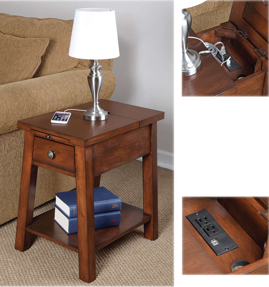 end table charging maple granite ikea wireless review nightstand cell phone stations power station with jofran chairside bedside furniture kitchen calgary kohls toys coupon barn