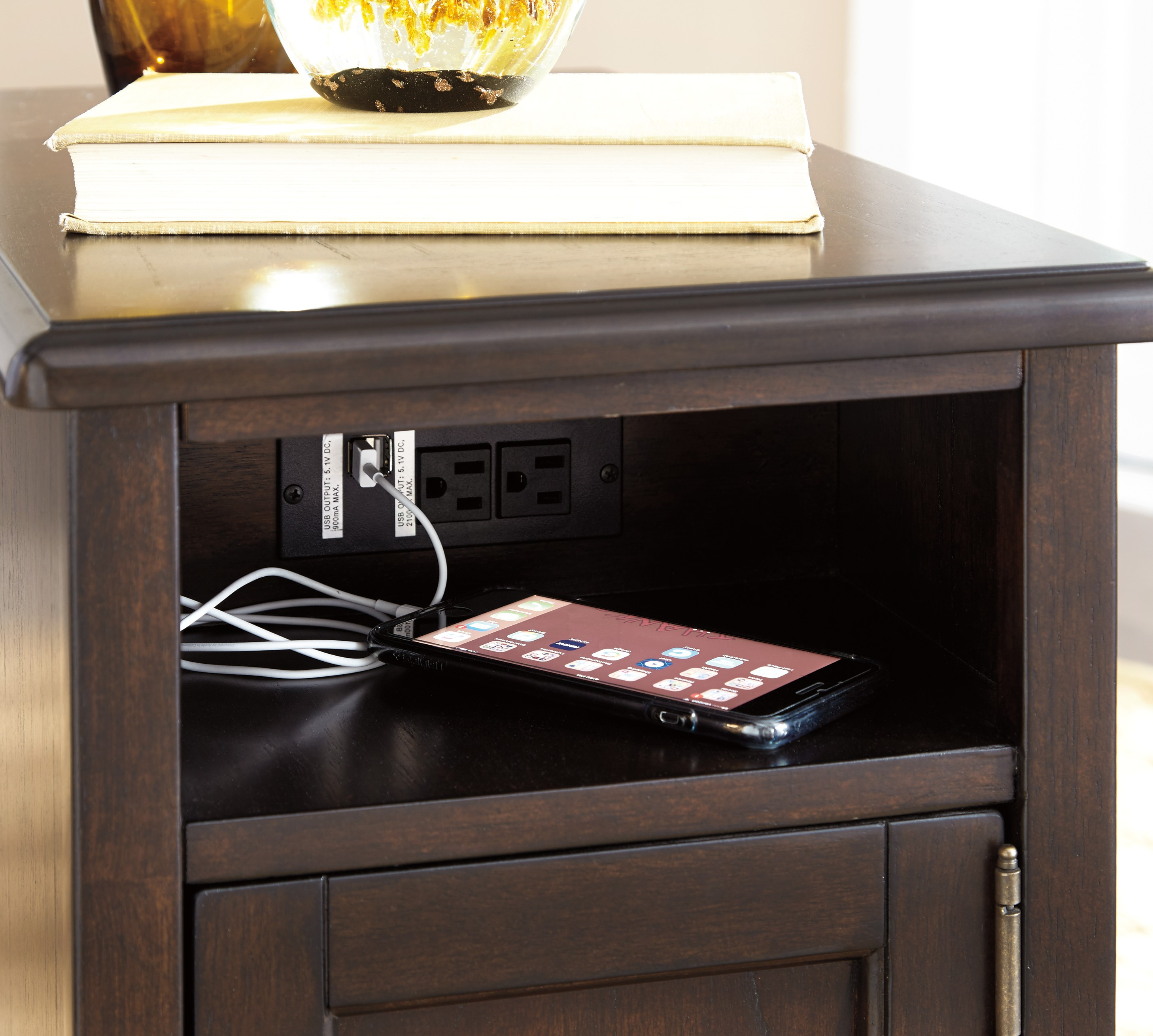 end table coffee with usb ports accent tables charging station small built vanderbilt nightstand teal home decor queen anne badcock website black lace runner ethan allen windsor