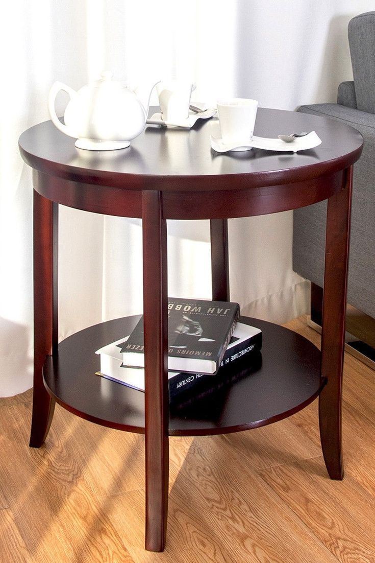 end table round wooden shelf side sofa accent couch furniture living display this features smooth surface and beautiful appearance with cherry finish that would perfect addition