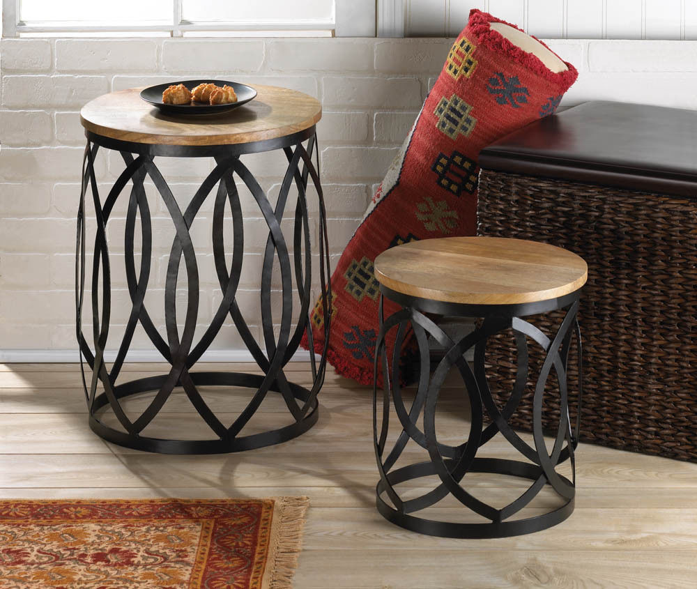 end table set coffee furniture accent round wood metal and modern white lamp wrought iron tables computer desk with drawers reading chest weber grill side southern enterprises