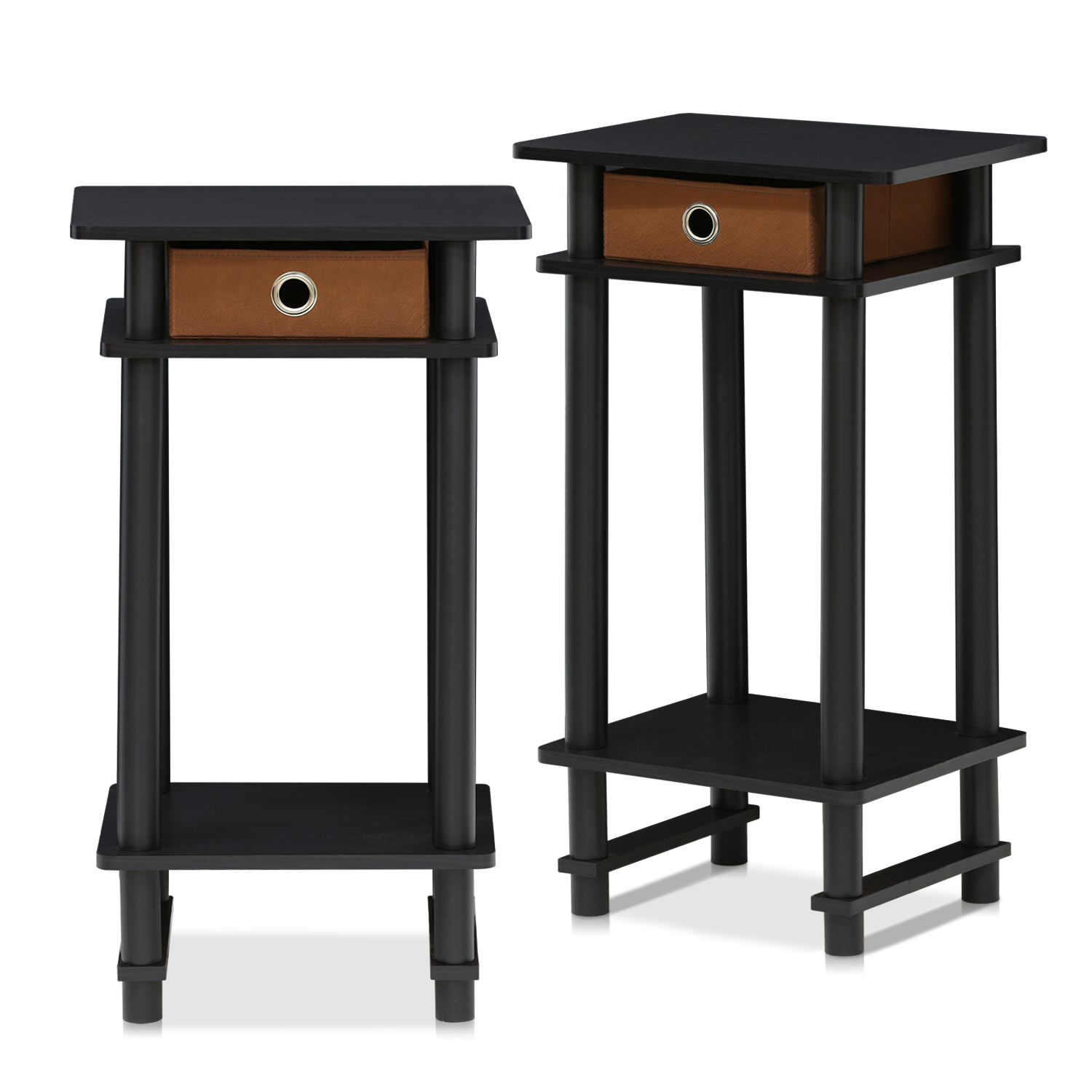 end table set tall nightstand bedside accent with bin espresso brown outdoor wicker furniture covers west elm console rustic trunk coffee home accents brand round metal glynn