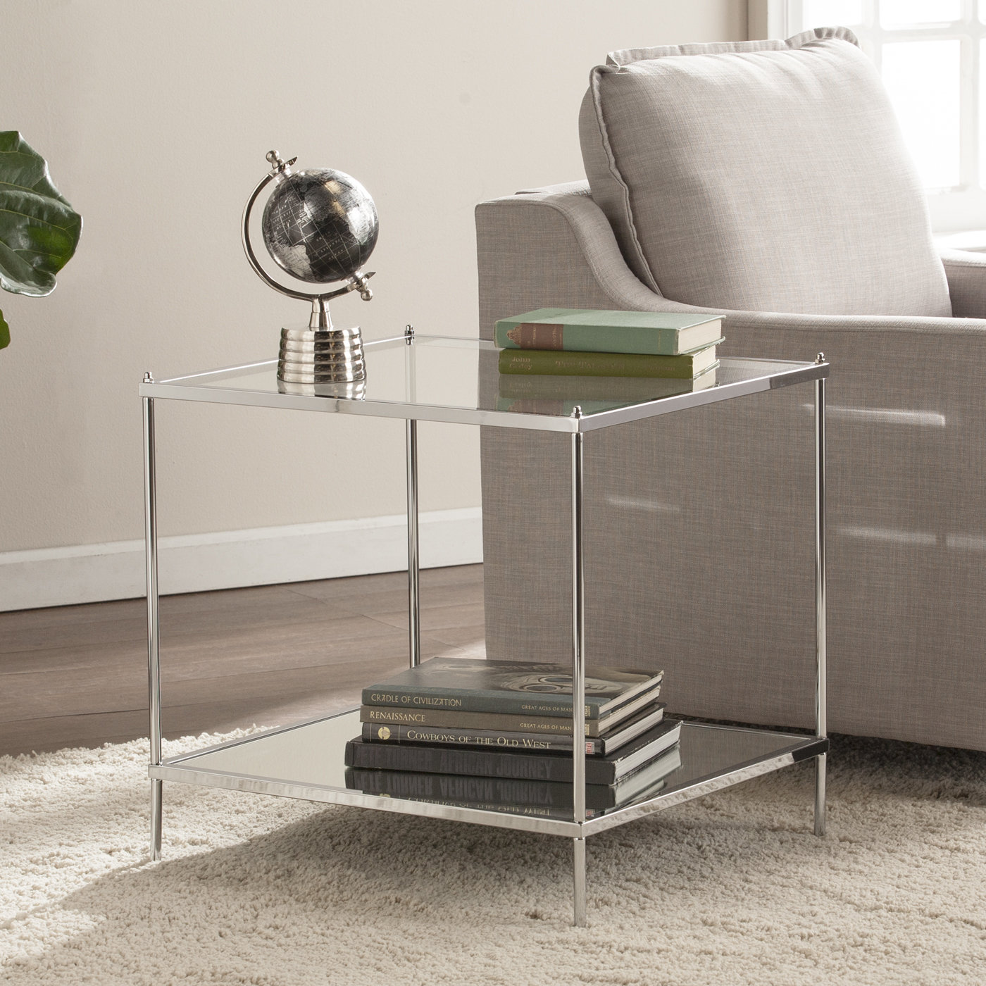 end table with bottom shelf busey glam mirrored room essentials mixed material accent door console cabinet country tablecloths blue mosaic patio convertible modern floor lamp
