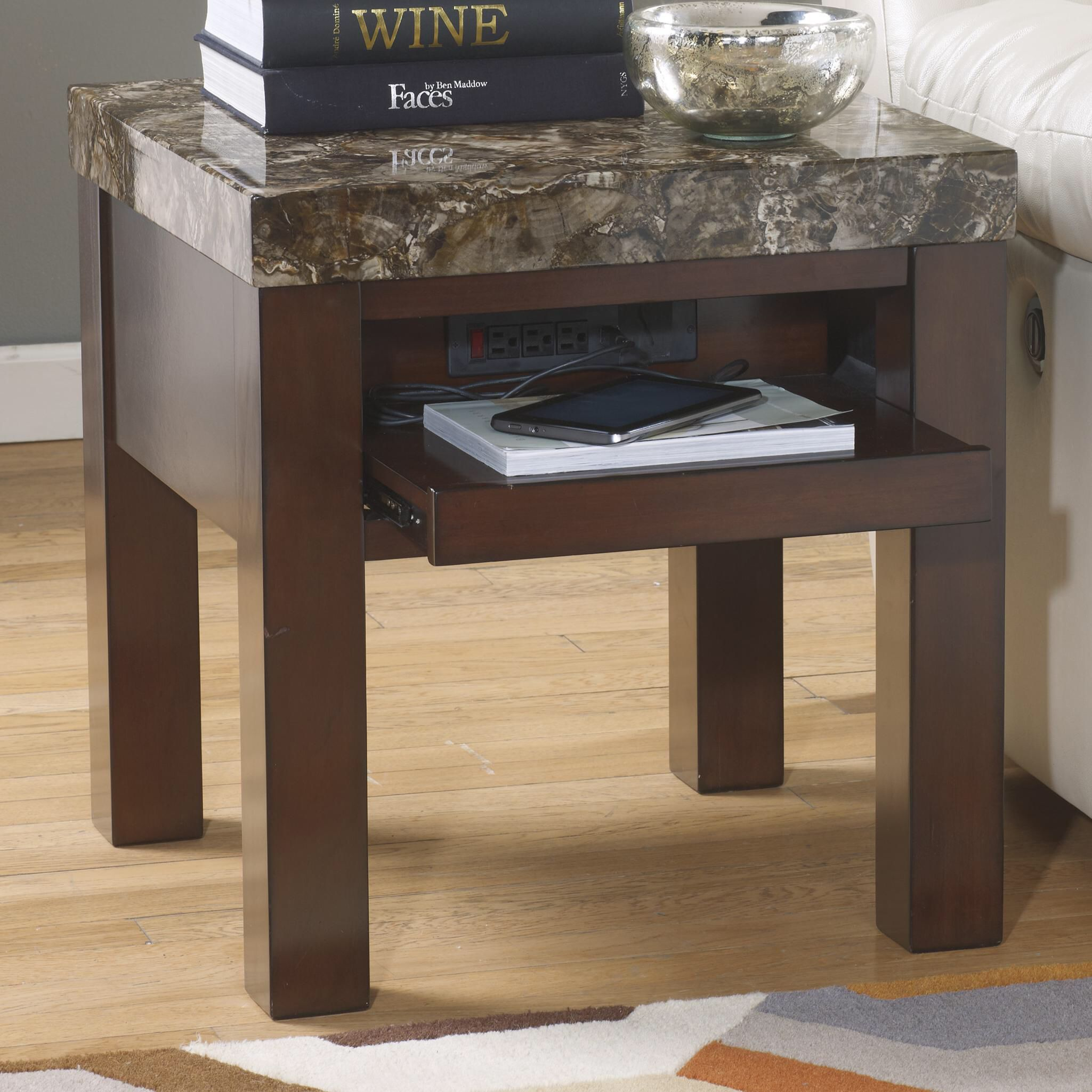 end table with charging station and sliding compartment home accent tables oak coffee plans modern mats round cloth vanity goods champagne mirrored furniture for tiny spaces extra