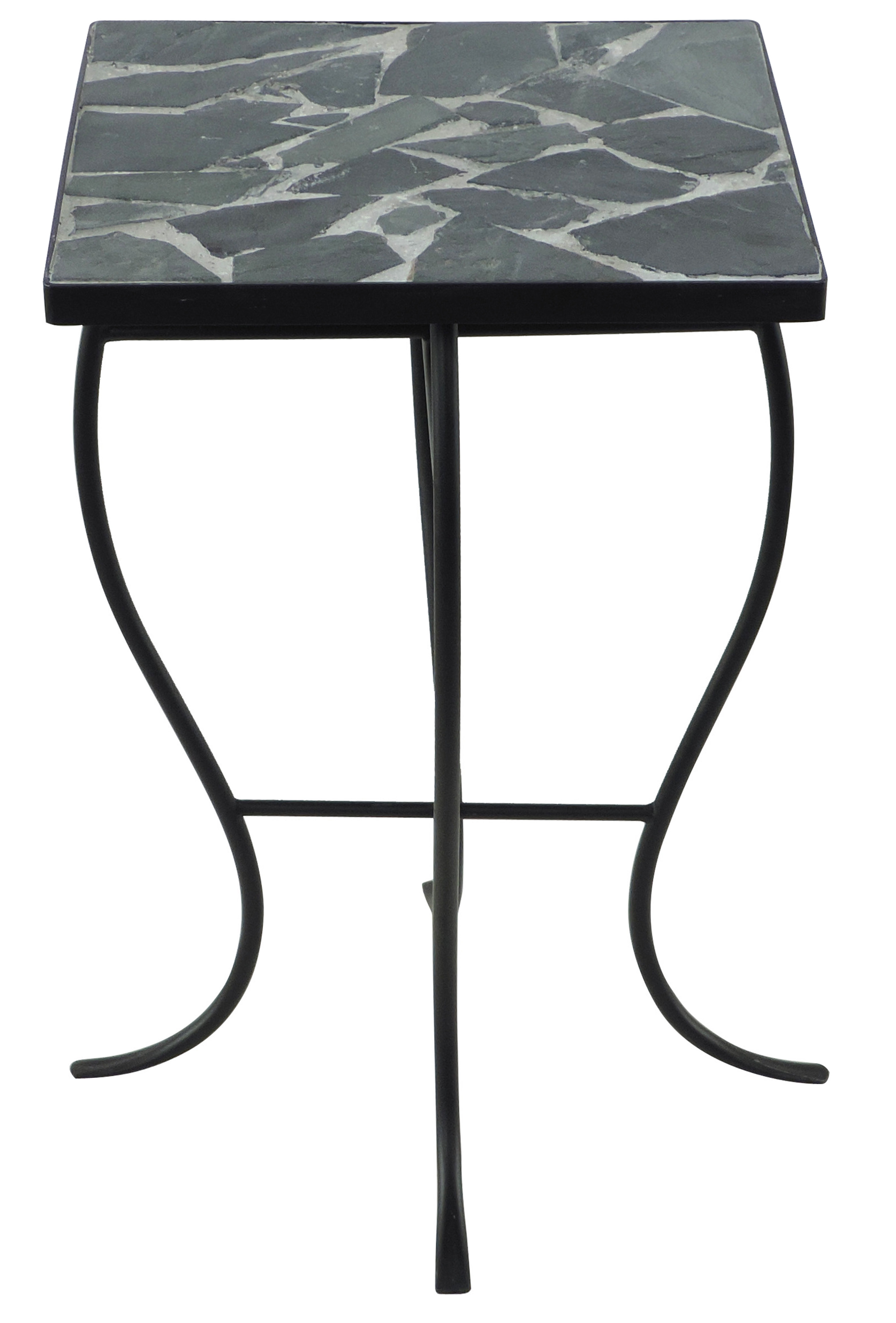 end table with stone top outdoor mosaic accent quickview gray inch console drum parts reclaimed wood coffee steel hairpin legs dale home crystal lamp antique brass purple desk