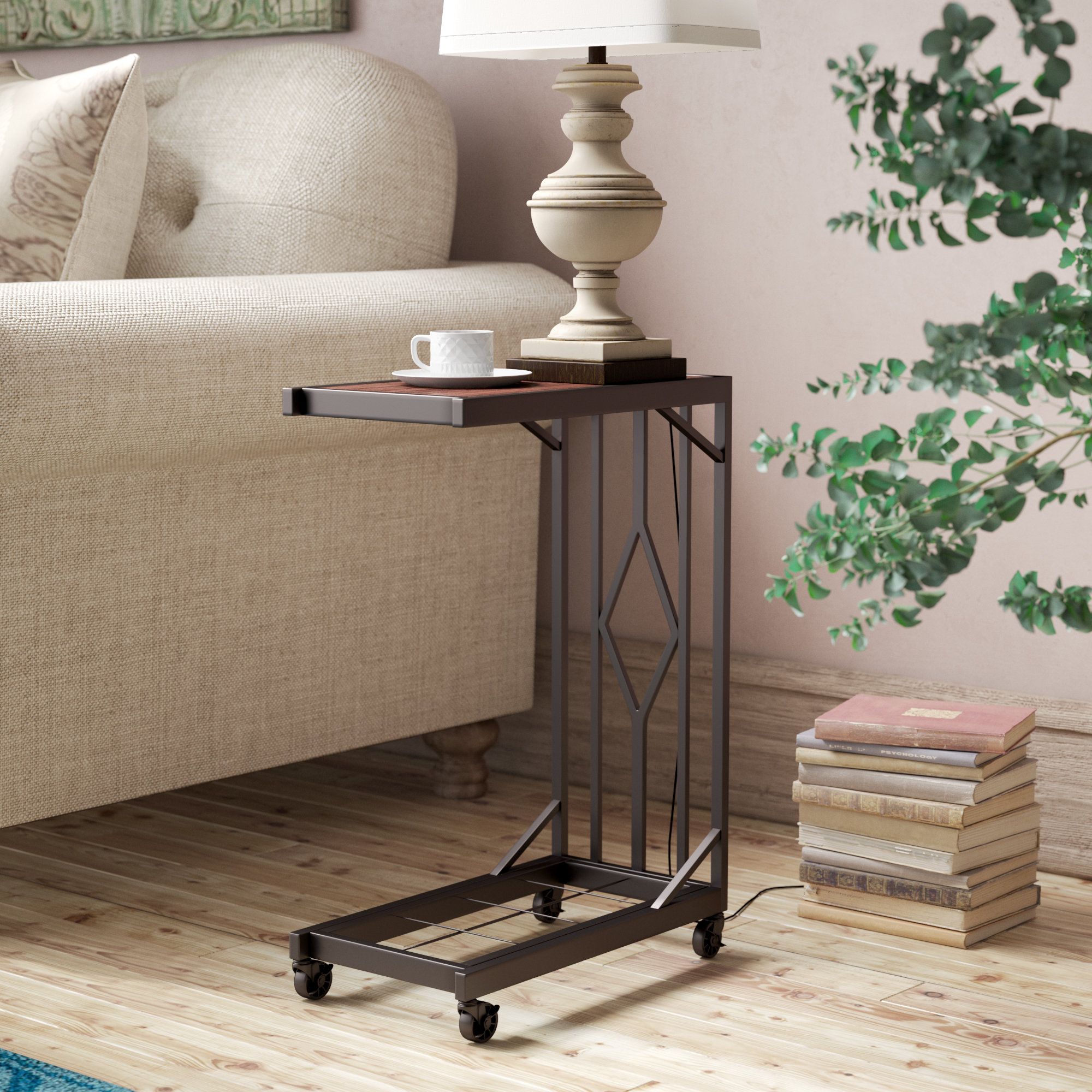 end table with wheels aiyana mobile snack room essentials mixed material accent tall bedside drawers windham coffee skinny black patio blue mosaic barnwood tables aluminium door