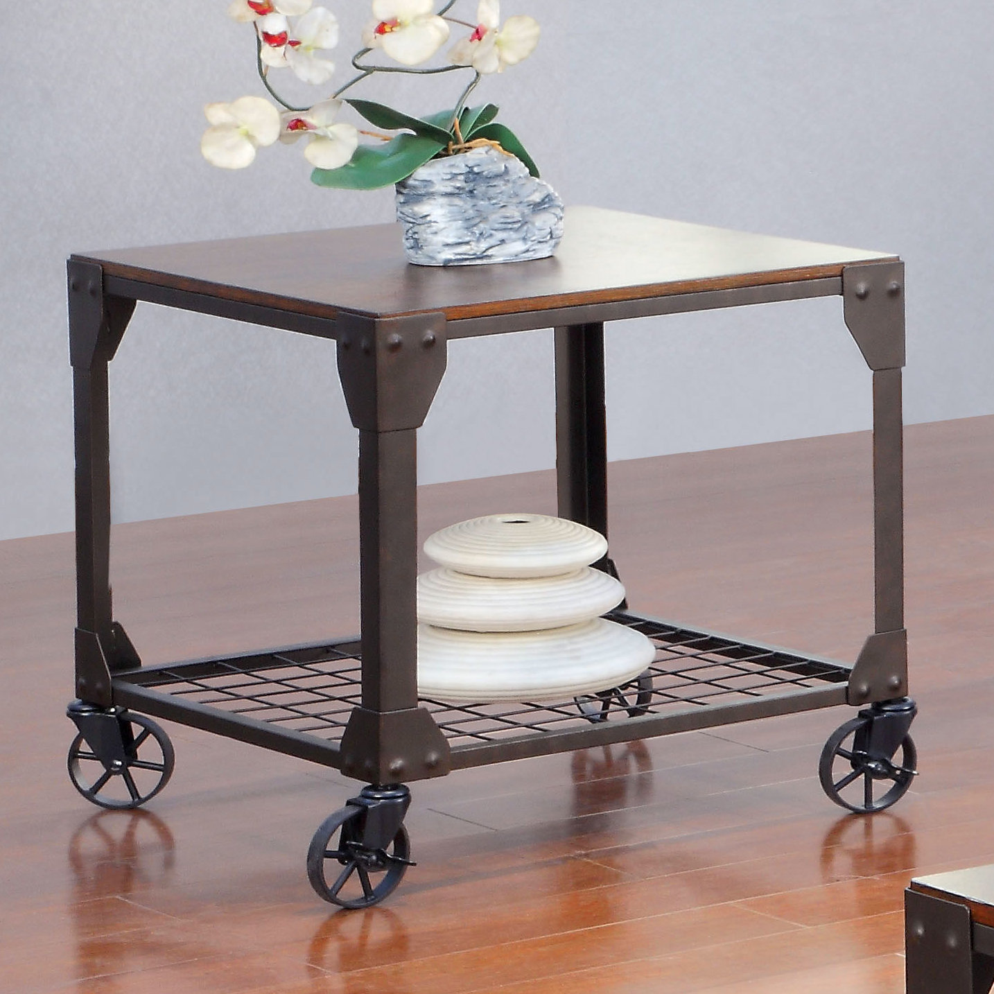 end table with wheels hobart accent interior home decoration stump side clear acrylic trunk coffee small white entry circle wood furniture elm console ashley set pier one throw