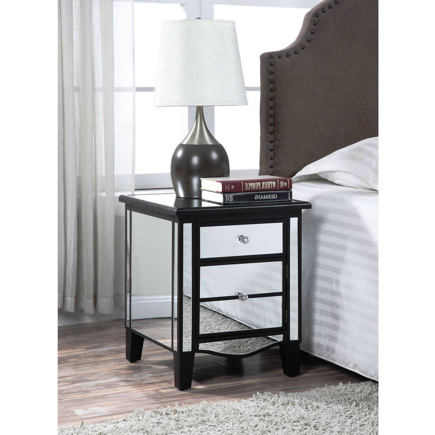 end tables furniture simple modern mirrored accent table with mirror dining room julia brown and white nightstand target side drawer black bedside drawers wood dresser ikea inch