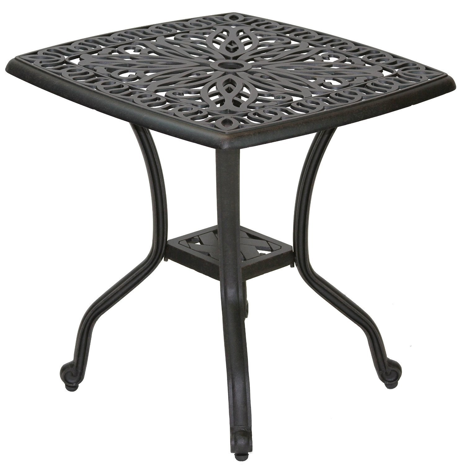 end tables outdoor coffee table small porch patio unique mandalay cast aluminum powder coated deep furniture glass top wrought iron plastic side metal storage indoor black full