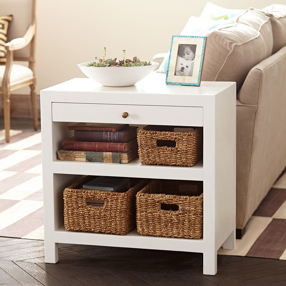 end tables table with wicker basket drawers glass and main drawer shelf sleek side wisteria reclining sofa console small accent sets tall storage sectional couch chaise narrow