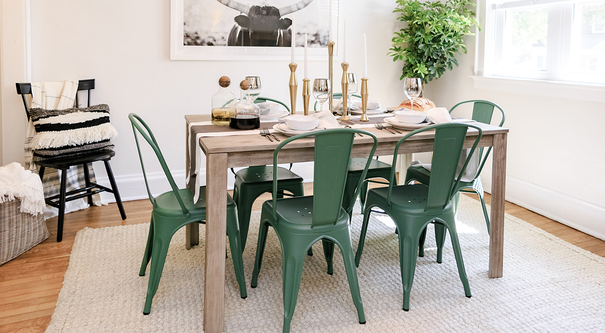 entertaining cocktail party supplies and essentials sauder aspx avenue six piece chair accent table set home tour jenni radosevich rustic chic dining room pier one tures