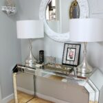 entry hall mudroom country french foyer ornament design luxury modern mirrored console table with drum twin acrylic lamp plus white carved wood frame glass wall mirror entryway 150x150