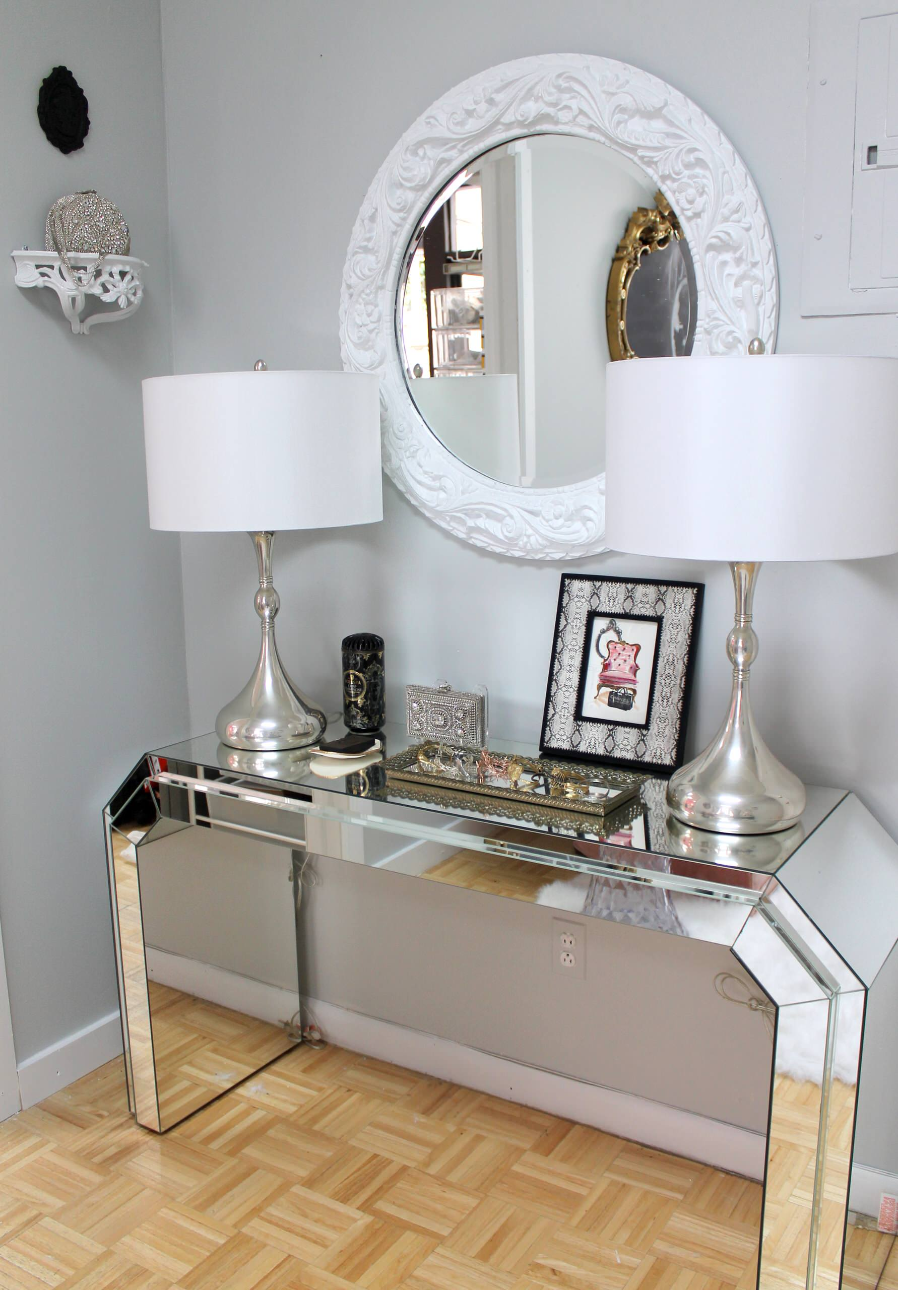 entry hall mudroom country french foyer ornament design luxury modern mirrored console table with drum twin acrylic lamp plus white carved wood frame glass wall mirror entryway