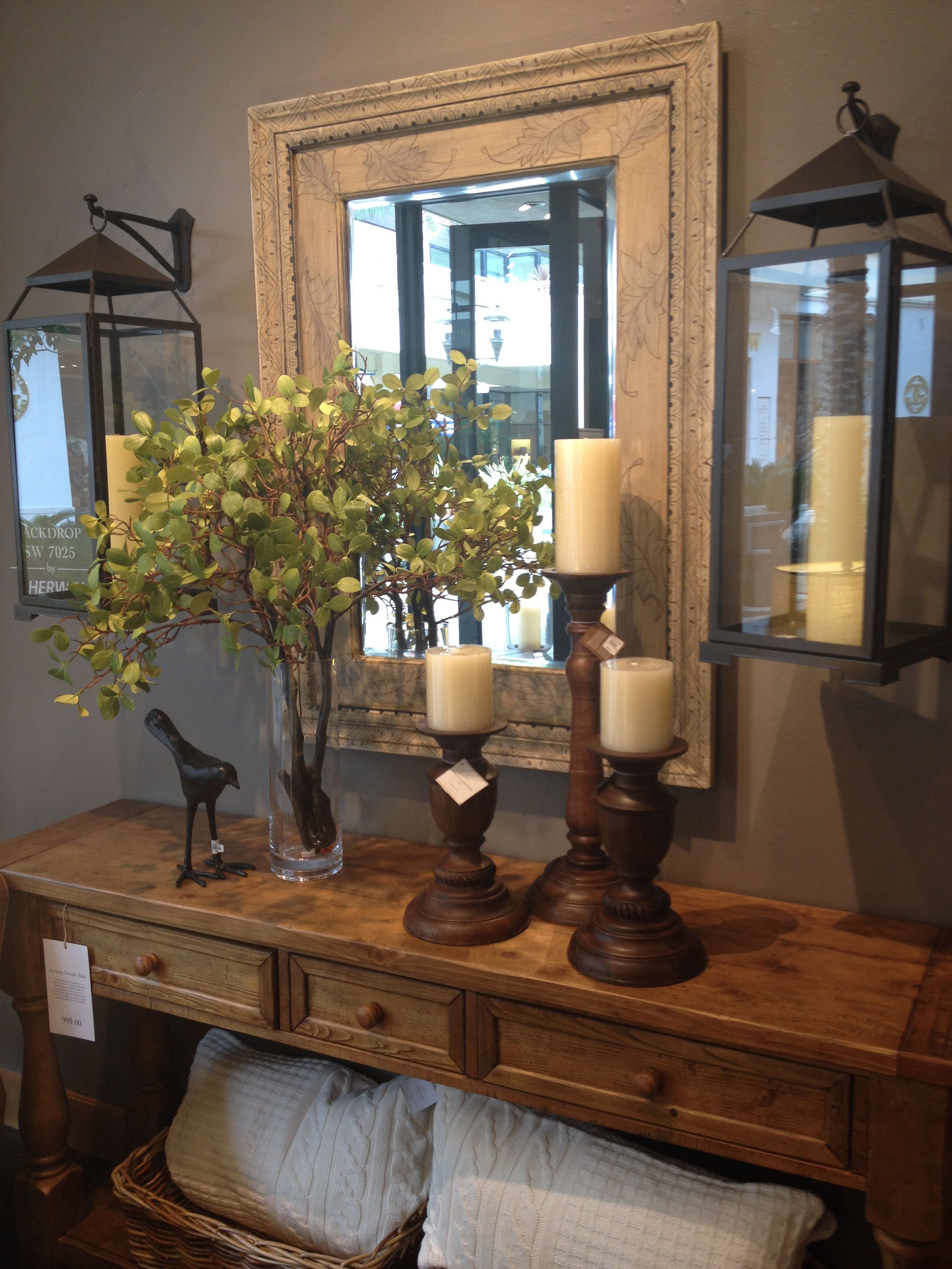 entry table love the hanging lanterns country decor pottery barn jamie accent wells chair wood pedestal with wine rack below cube tables ikea pine night stand small nightstands