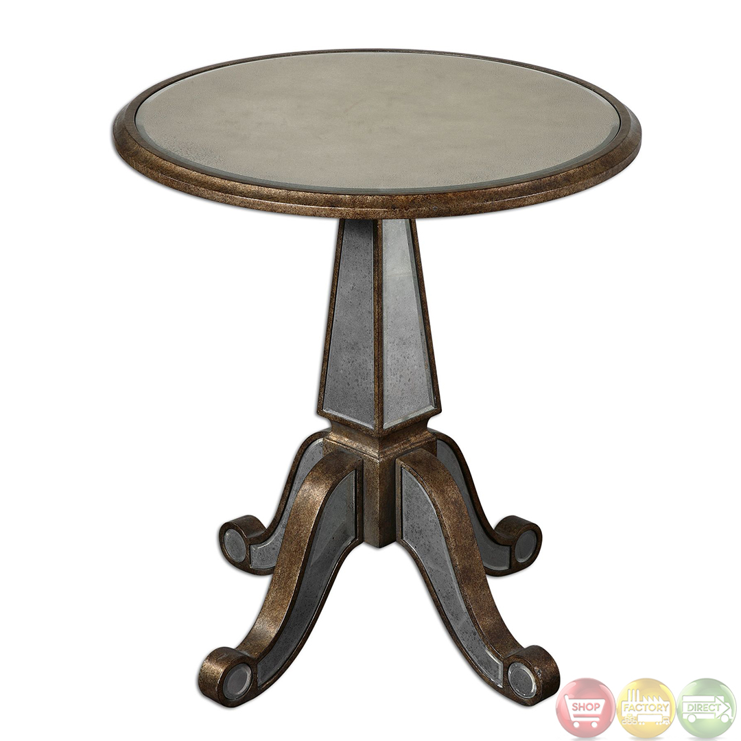 eraman antiqued finish mirrored pedestal accent table bronze threshold diy side round dining for sofa and chair set narrow cabinet wood steel small marble top coffee lime green