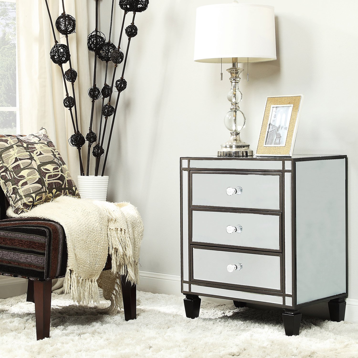 escanaba mirrored drawer black trim accent table inspire bold pulaski sofa tiffany style hampton bay patio dining set cabinet drawers round wood young america furniture bedroom