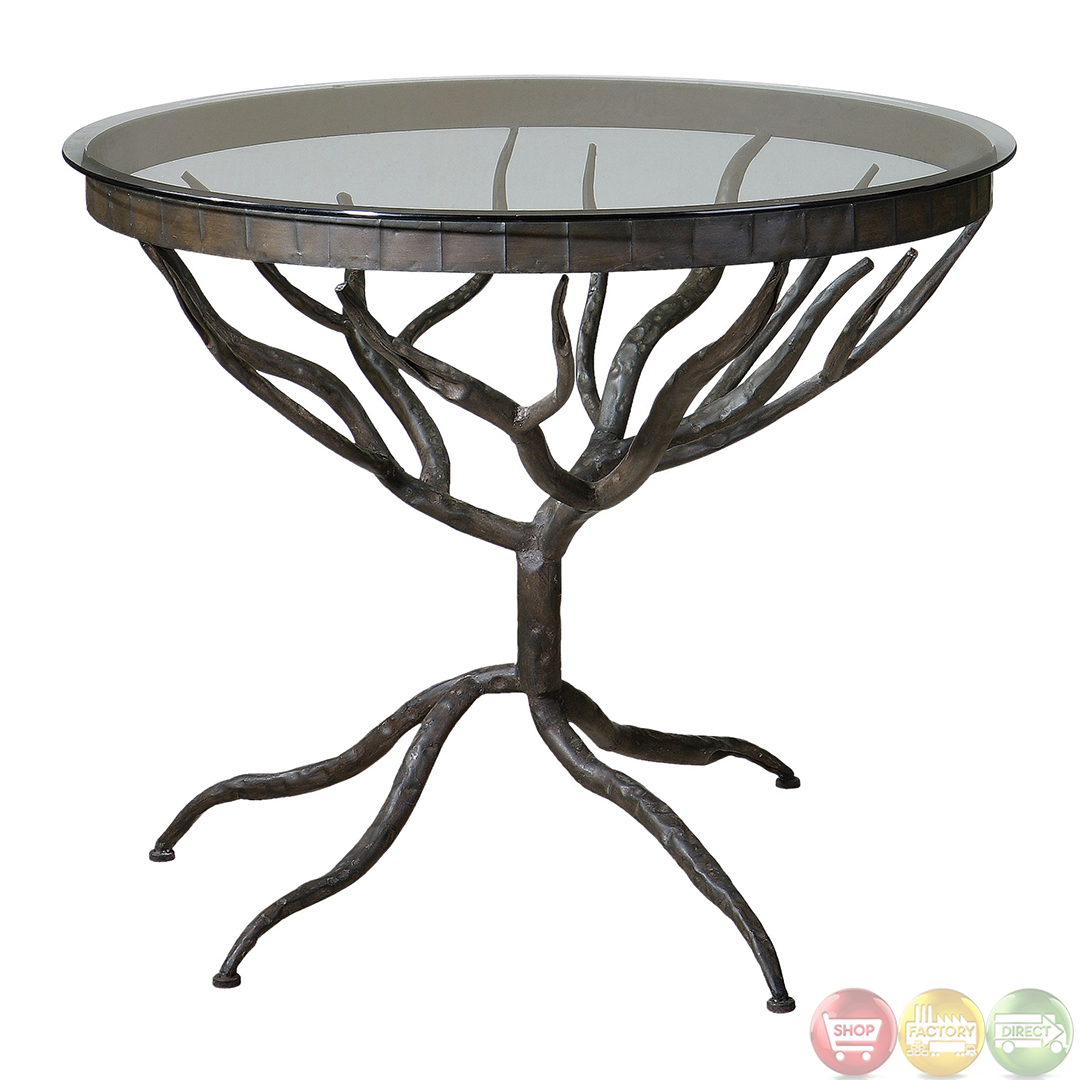 esher tree design metal base glass top accent table wrought end bases wood marble coffee and tables gray wash tempo furniture inch wide west elm off code ready assembled bedroom