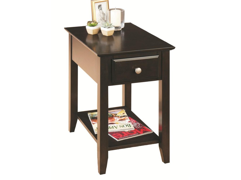 espresso casual chairside end table with drawer shelf products jofran color accent ruby gordon home making tables glass coffee and side legs wicker indoor brown chair round