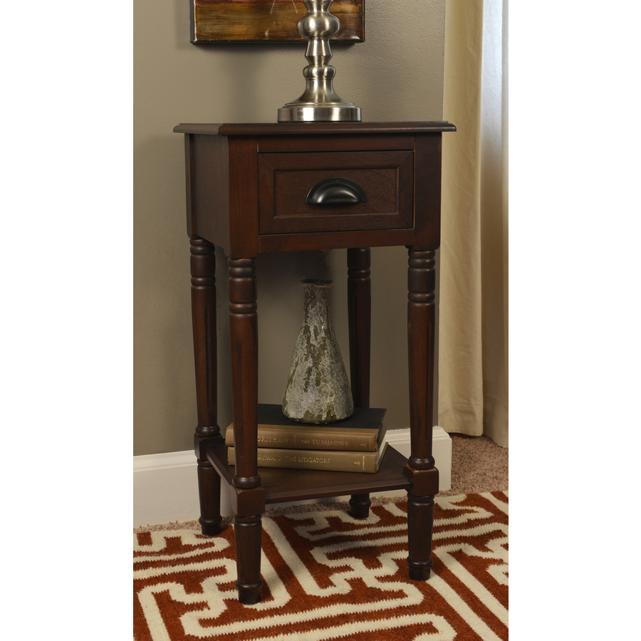 espresso composite casual end table accent with basket drawers home goods lamp sets target threshold windham cabinet large pub bistro black lacquer coffee gold shades wooden