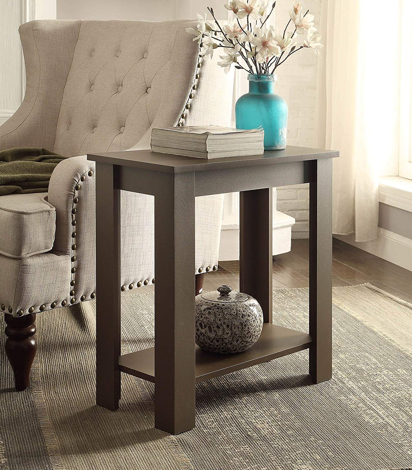 espresso finish tier chair side end table with shelf accent phone kitchen dining ashley furniture and half glass timber outdoor setting bunnings diy barndoor aluminum patio black
