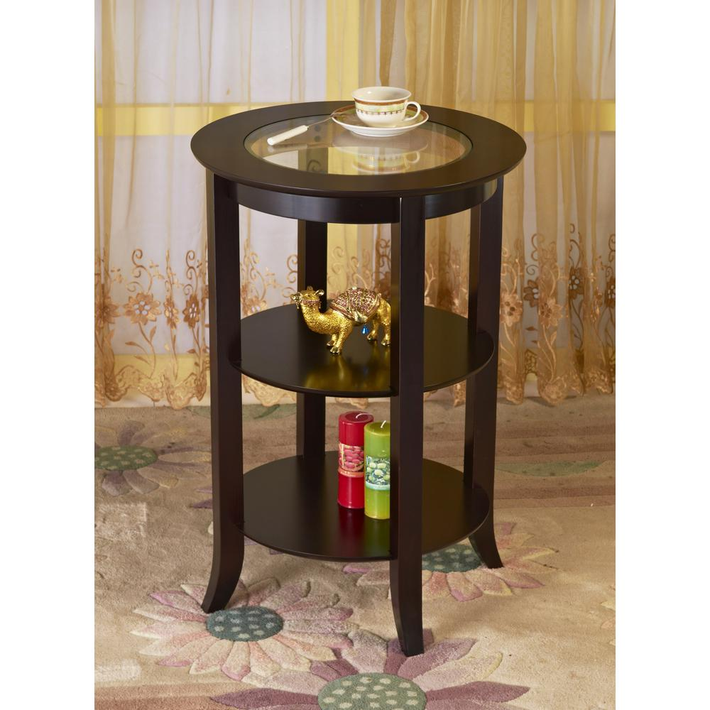 espresso round end tables home design ideas megahome tipton accent table top the inch coffee drinking glass sets pedestal small with folding sides bunnings outdoor lounge settings