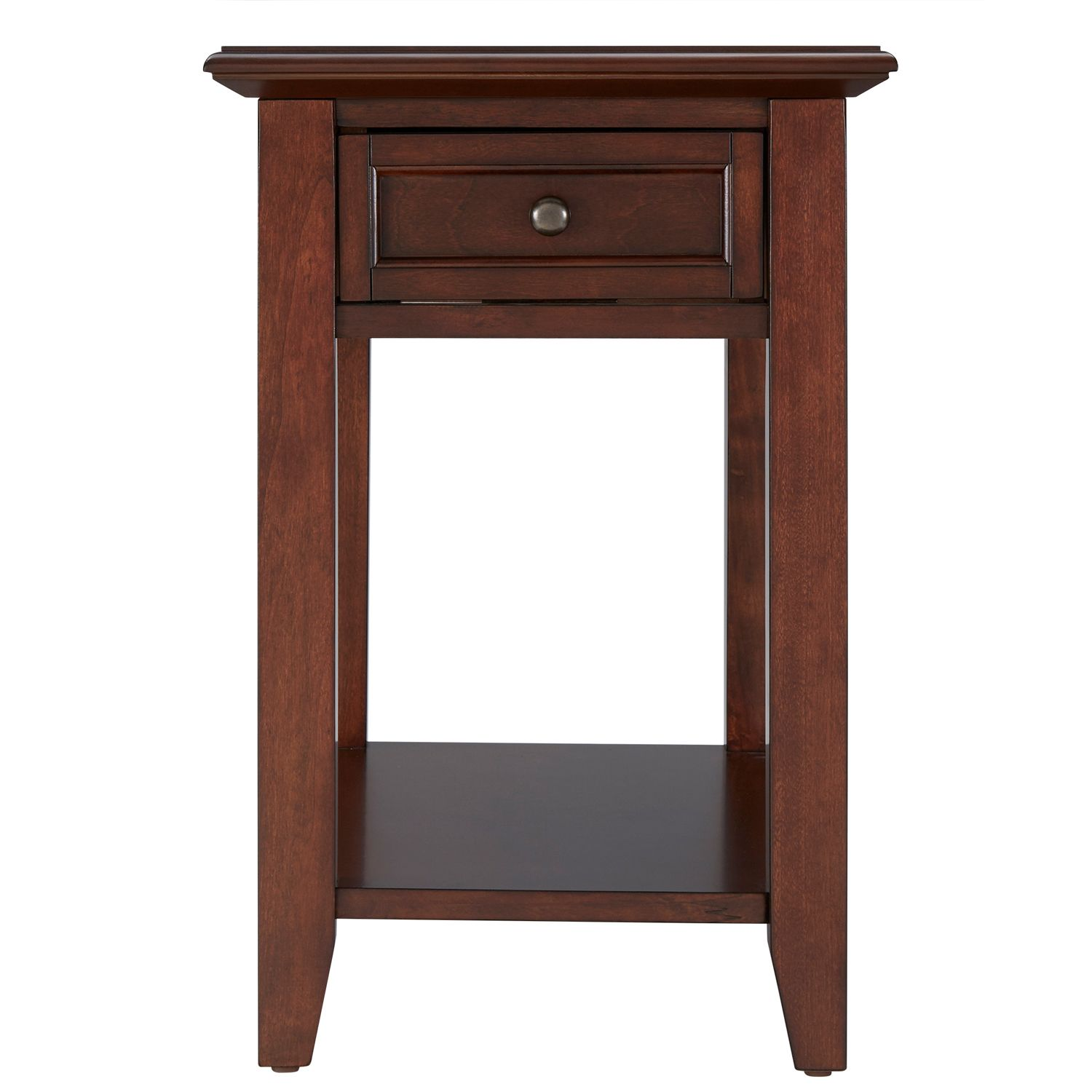 espresso single drawer end table with power strip living room accent coffee cover ideas ikea kids storage boxes media console torch lamp ornate side silver mirrored nightstand