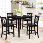 essential home dahlia piece square table dining set black prod room essentials accent assembly instructions white and gold console counter height with bench shelves inch round 150x150
