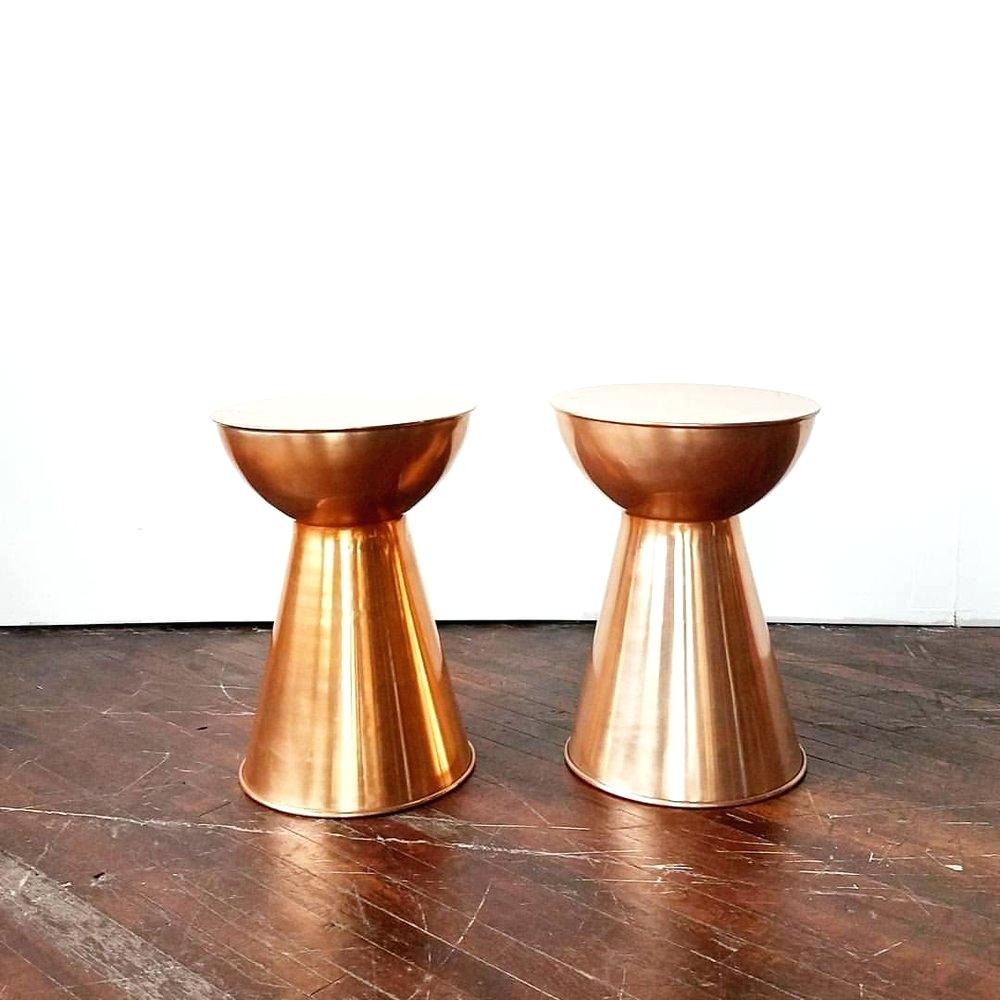 etched and hammered copper drum table riveted teamtab tables grove birch threshold accent metal dining chairs glass top end with drawer solid cherry wood coffee bathroom vanity
