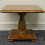 ethan allen pedestal end table tops ballan accent high used furniture heirloom nutmeg maple square flannel backed vinyl tablecloth oil rubbed bronze side over the toilet storage 150x150